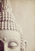 Neutral Colours Posters - Cropped stone Buddha head statue Poster by Lyn Randle