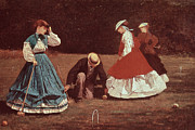 Winslow Painting Metal Prints - Croquet Scene Metal Print by Winslow Homer