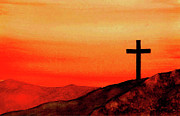 Cross Art Paintings - Cross at Sunset by Michael Vigliotti