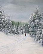 Ski Painting Metal Prints - Cross Country Skiers Metal Print by Ken Ahlering