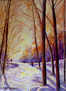 Cross-country Skiing Paintings - Cross Country Sking St. Agathe Quebec by Carole Spandau