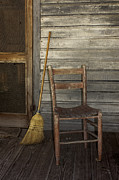 Wood Plank Flooring Prints - Cross Creek Broom and Chair Print by Lynn Palmer