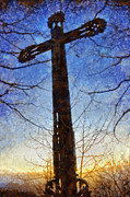Contemplative Digital Art Metal Prints - Cross - Crucifix Metal Print by Matthias Hauser