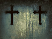 Gothic Cross Posters - Cross Duet On Door Poster by Tony Grider