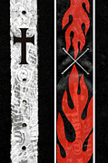 Gothic Cross Posters - Cross Fire Poster by Roseanne Jones
