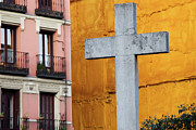 Religious Structure Framed Prints - Cross in the City of Madrid Framed Print by Artur Bogacki