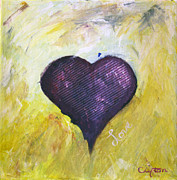 Purple Heart Painting Posters - Cross My Heart Poster by Sandy Clifton