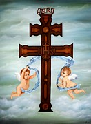 Angels Painting Originals - Cross of Caravaca by Lena Day