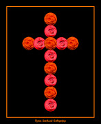 Easter Photographs Posters - Cross of red and orange roses Poster by Rose Santuci-Sofranko