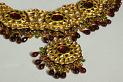 Gold Necklace Prints - Cross section of a purple and yellow gold beautiful necklace Print by Ashish Agarwal