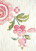 Flower Design Prints - Cross Stitch Flower 1 Print by Marilyn Hunt