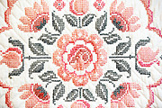 Quilt Art Photos - Cross Stitch Roses by Marilyn Hunt