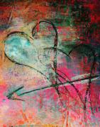 Affiche Mixed Media - Crossed Hearts   Corazones Cruzados by Anahi DeCanio