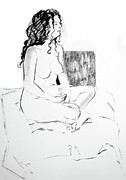 Charcoal Drawings Drawings Framed Prints - Crossed Legged Nude Framed Print by Joanne Claxton