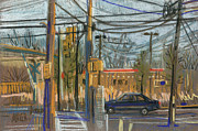 Car Pastels Prints - Crossing at Sandy Pleins Print by Donald Maier