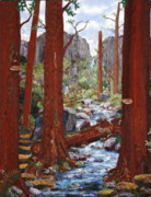 Forest Tapestries - Textiles Prints - Crossing Creek Print by Kathy McNeil