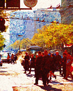 Broadway Digital Art Metal Prints - Crossing Market Street 2 . Photo Artwork Metal Print by Wingsdomain Art and Photography
