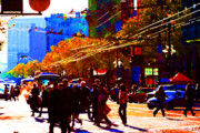Broadway Digital Art Metal Prints - Crossing Market Street . Photo Artwork Metal Print by Wingsdomain Art and Photography