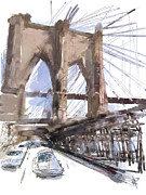Brooklyn Bridge Mixed Media Framed Prints - Crossing Over Framed Print by Russell Pierce