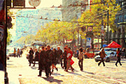 Downtowns Digital Art - Crossing San Francisco Market Street by Wingsdomain Art and Photography