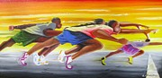 Jogging Posters - Crossing The Finish Line Poster by Chuck Collins