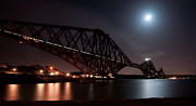 Train Crossing Prints - Crossing the Firth under a Full Moon Print by Max Blinkhorn