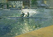 Rower Posters - Crossing the Light Break - Henley Poster by Timothy Easton