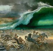 Israelites Prints - Crossing the Red Sea Print by Anonymous