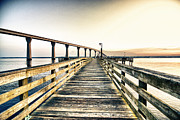 Fishing Pier Prints - Crossing the River  Print by Kelly Reber