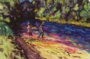People Tapestries - Textiles Acrylic Prints - Crossing the Stream Acrylic Print by Carolyn Doe