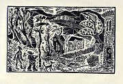 Linocut Drawings Originals - Crossroads by Milen Litchkov