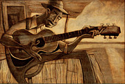 Blues Guitar Paintings - Crossroads by Sean Hagan