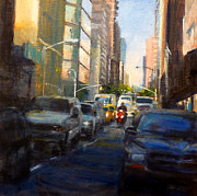 Crosstown On West 58th Print by Peter Salwen