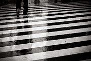 Foot Posters - Crosswalk In Rain Poster by photo by Jason Weddington
