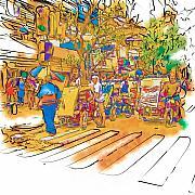 Crosswalk In The Philippines Print by Rolf Bertram