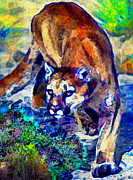 Wildcats Painting Framed Prints - Crouching Cougar Framed Print by Elinor Mavor