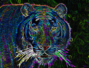 Feline Digital Art - Crouching Tiger by David Lee Thompson