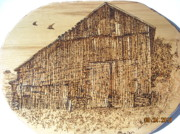 Old Pyrography Posters - Crow Barn Poster by Doris Lindsey