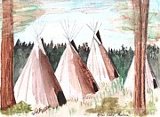 Northwest Drawings Prints - Crow Camp Montana Print by Windy Mountain