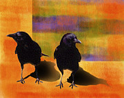 Two Crows Framed Prints - Crow Duo Framed Print by Kathleen A Johnson
