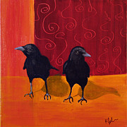 Two Crows Framed Prints - Crow Duo with Swirls Framed Print by Kathleen A Johnson