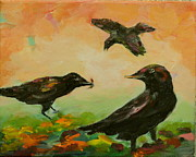 Crows Paintings - Crow Entertainment by Naomi Gerrard