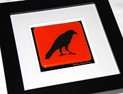 Fused Glass Art - Crow III Silhouette by Judy Macauley