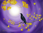 Laura Iverson - Crow in Ginkgo Leaves