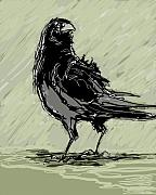 Wacom Tablet Prints - Crow in Rain Print by Peggy Wilson