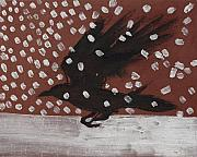 Sacred Painting Originals - Crow In Snow by Sophy White
