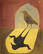 Sacred Painting Originals - Crow in The Doorway of Life by Sophy White