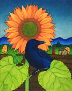 Sunflower Painting Metal Prints - Crow in the Garden Metal Print by Stacey Neumiller