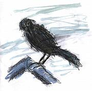 Balcony Mixed Media Posters - Crow in the Wind Poster by Kevin Callahan