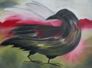 Olive Green Painting Prints - Crow Print by Karen MacKenzie